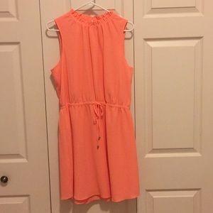Summer dress with drawstring waistline
